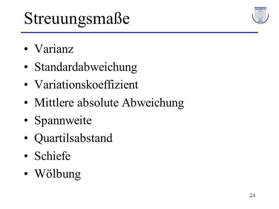 24 Streuungsmaße Varianz Standardabweichung Variationskoeffizient Mittlere absolute Abweichung Spannweite Quartilsabstand Schiefe Wölbung