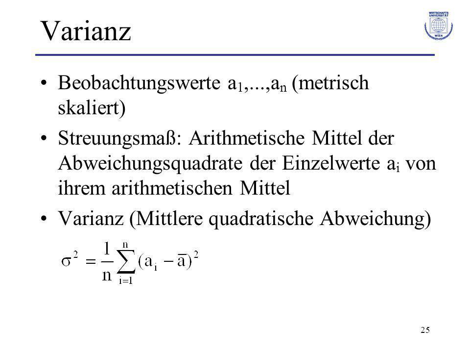 25 Varianz Beobachtungswerte a 1,...,a n (metrisch skaliert) Streuungsmaß: Arithmetische Mittel der Abweichungsquadrate der Einzelwerte a i von ihrem