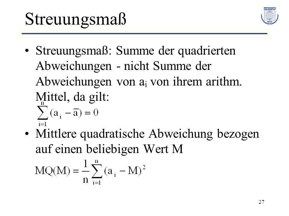 27 Streuungsmaß Streuungsmaß: Summe der quadrierten Abweichungen - nicht Summe der Abweichungen von a i von ihrem arithm. Mittel, da gilt: Mittlere qu