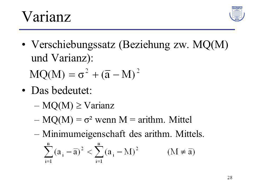 28 Varianz Verschiebungssatz (Beziehung zw. MQ(M) und Varianz): Das bedeutet: –MQ(M) Varianz –MQ(M) = σ² wenn M = arithm. Mittel –Minimumeigenschaft d
