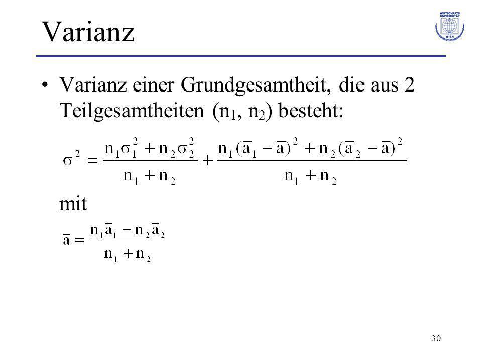 30 Varianz Varianz einer Grundgesamtheit, die aus 2 Teilgesamtheiten (n 1, n 2 ) besteht: mit