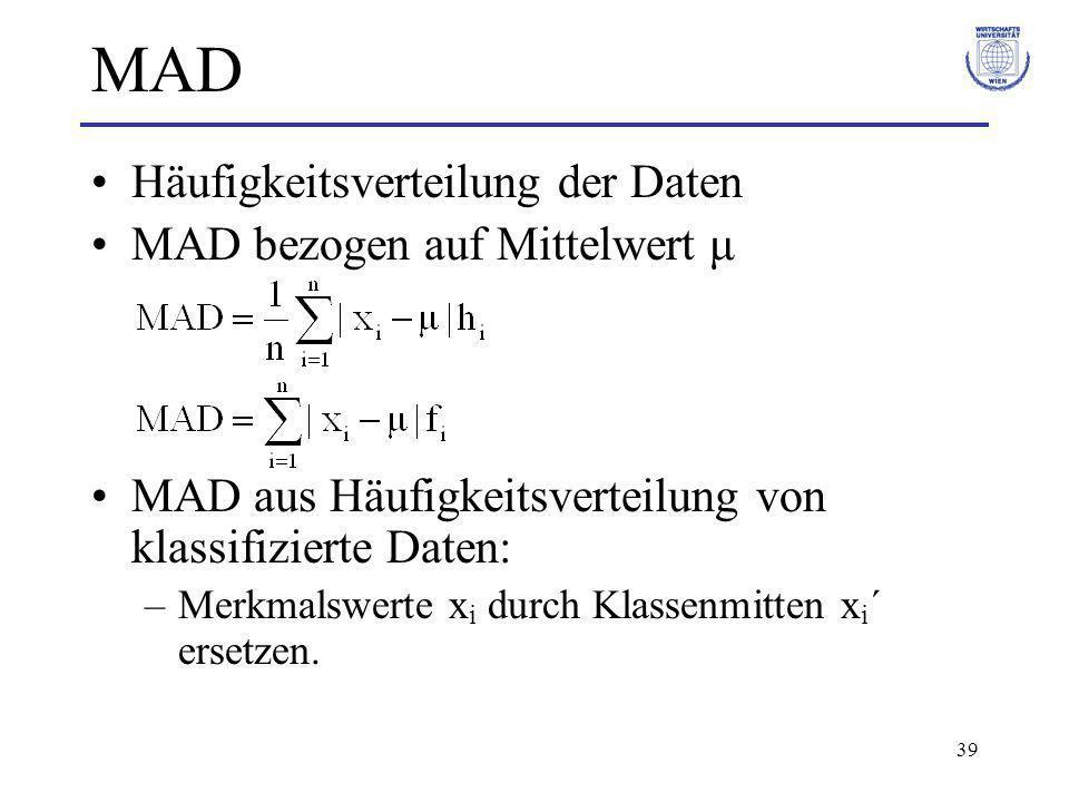 39 MAD Häufigkeitsverteilung der Daten MAD bezogen auf Mittelwert μ MAD aus Häufigkeitsverteilung von klassifizierte Daten: –Merkmalswerte x i durch K