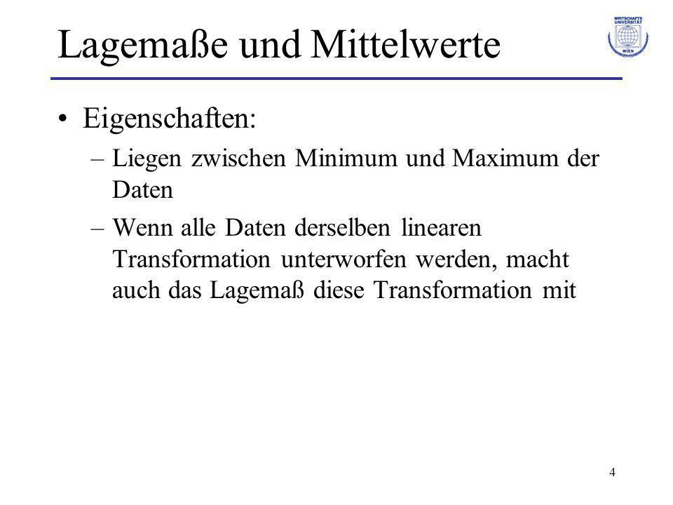4 Lagemaße und Mittelwerte Eigenschaften: –Liegen zwischen Minimum und Maximum der Daten –Wenn alle Daten derselben linearen Transformation unterworfe