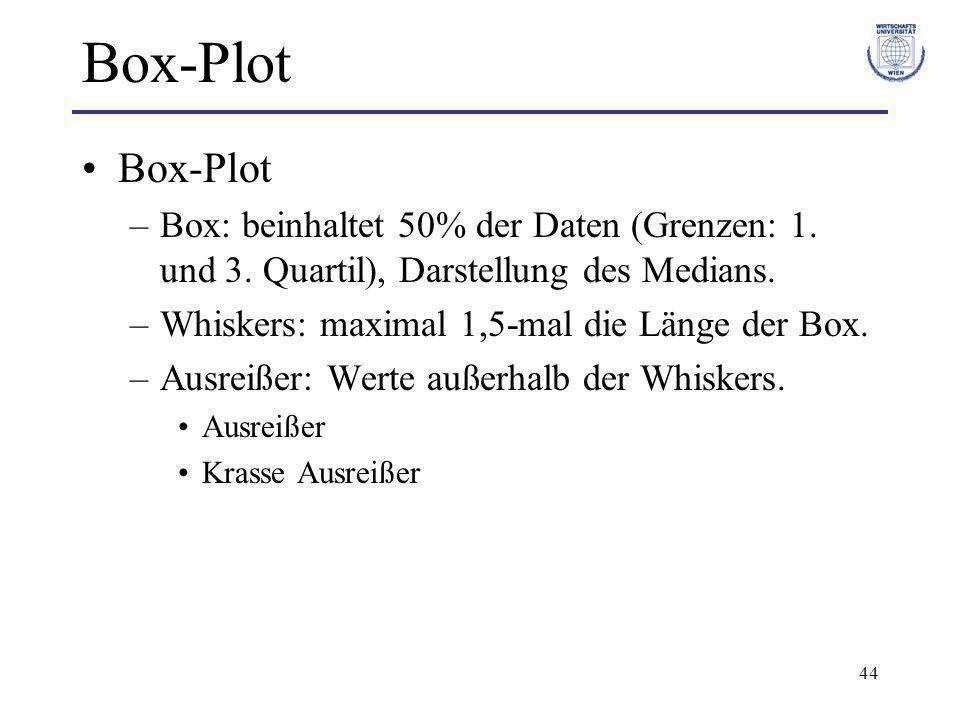 44 Box-Plot –Box: beinhaltet 50% der Daten (Grenzen: 1. und 3. Quartil), Darstellung des Medians. –Whiskers: maximal 1,5-mal die Länge der Box. –Ausre