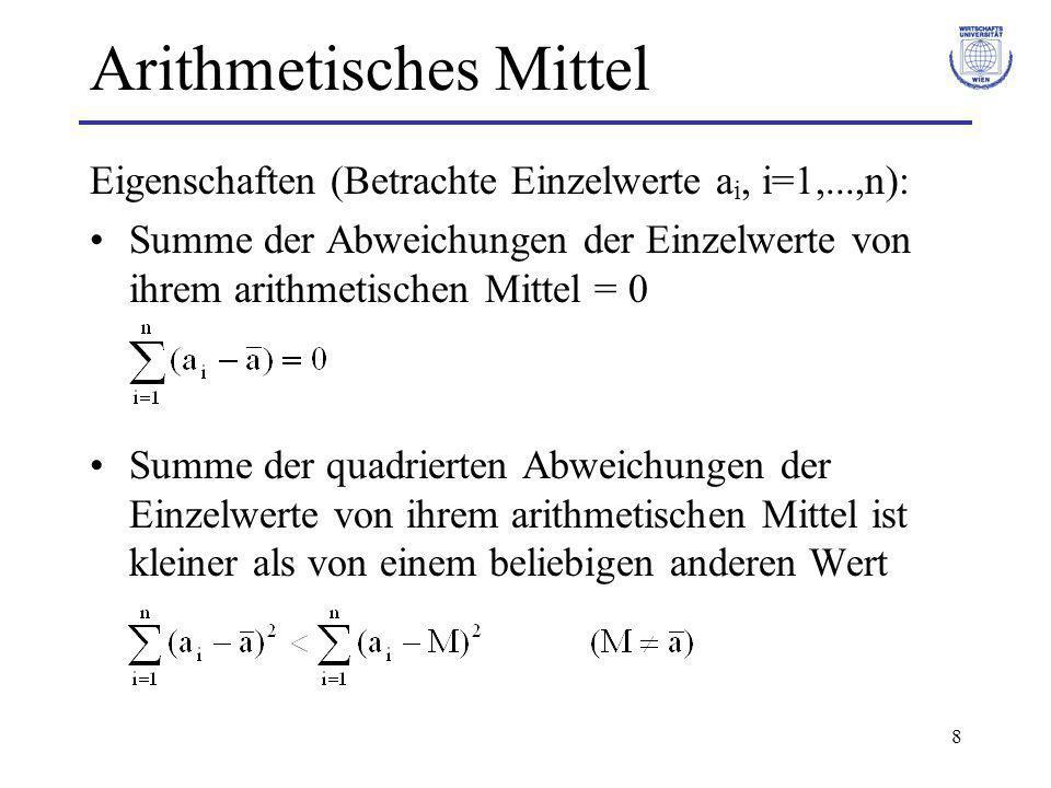 8 Arithmetisches Mittel Eigenschaften (Betrachte Einzelwerte a i, i=1,...,n): Summe der Abweichungen der Einzelwerte von ihrem arithmetischen Mittel =
