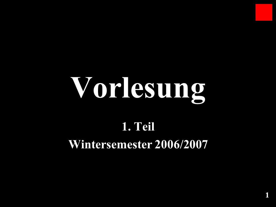 1 Vorlesung 1. Teil Wintersemester 2006/2007