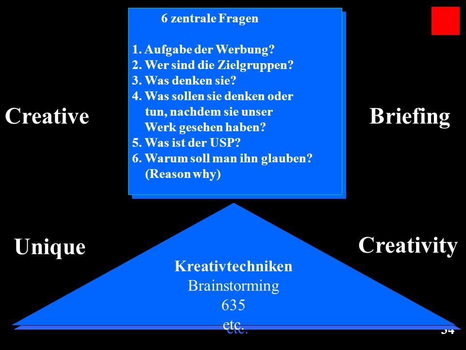 34 Kreativtechniken Brainstorming 635 etc. Kreativtechniken Brainstorming 635 etc. Unique Creativity 6 zentrale Fragen 1. Aufgabe der Werbung? 2. Wer