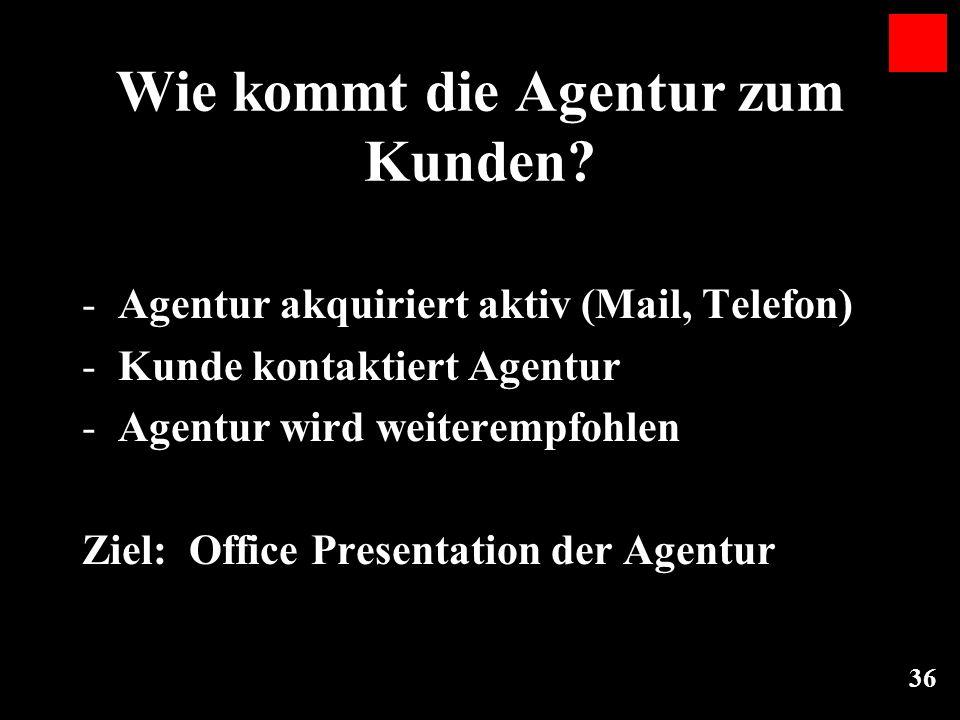 36 Wie kommt die Agentur zum Kunden? -Agentur akquiriert aktiv (Mail, Telefon) -Kunde kontaktiert Agentur -Agentur wird weiterempfohlen Ziel: Office P