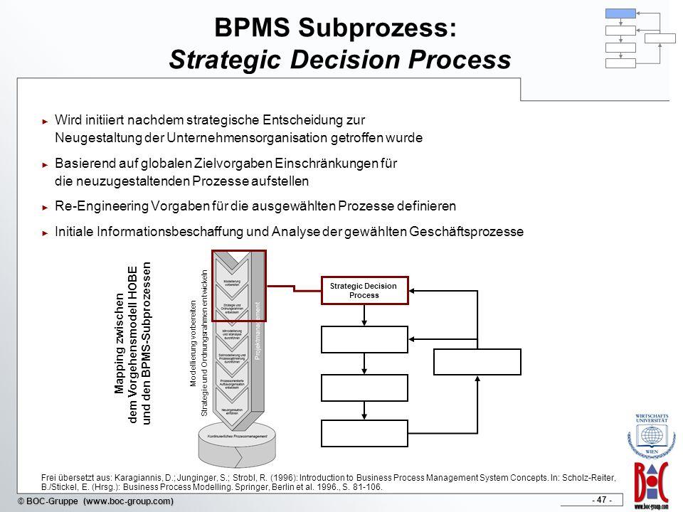 - 47 - © BOC-Gruppe (www.boc-group.com) BPMS Subprozess: Strategic Decision Process Wird initiiert nachdem strategische Entscheidung zur Neugestaltung