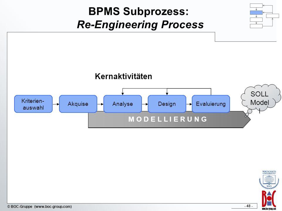 - 48 - © BOC-Gruppe (www.boc-group.com) BPMS Subprozess: Re-Engineering Process Kriterien- auswahl AkquiseAnalyseDesignEvaluierung M O D E L L I E R U