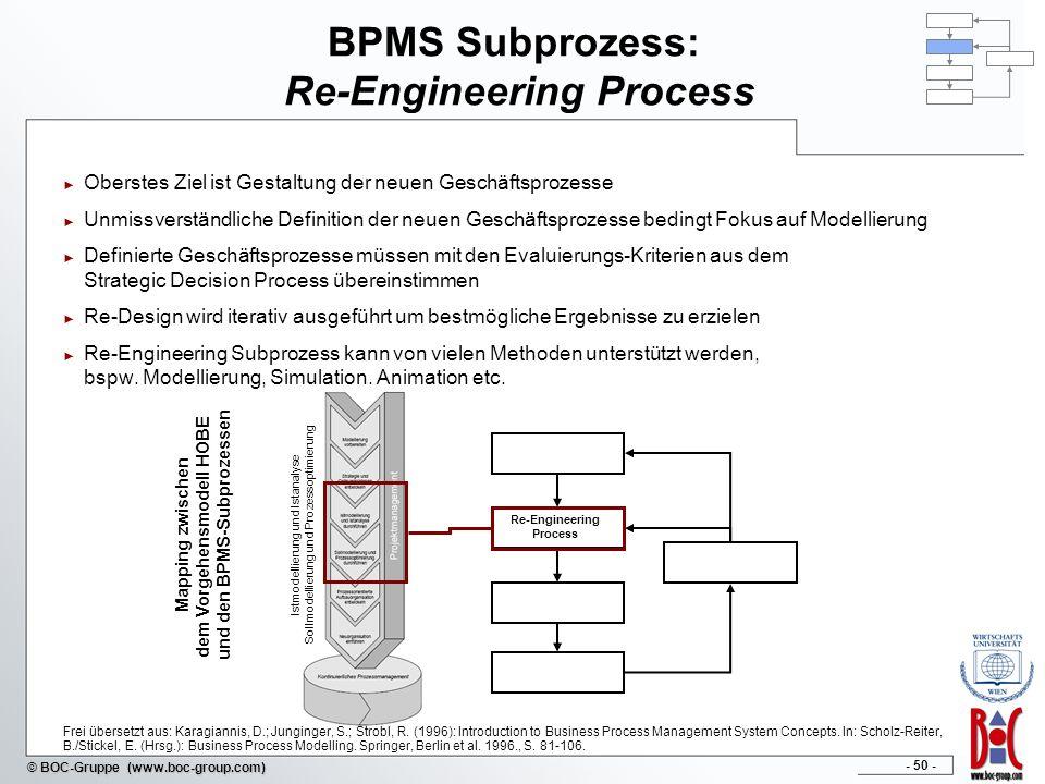 - 50 - © BOC-Gruppe (www.boc-group.com) BPMS Subprozess: Re-Engineering Process Oberstes Ziel ist Gestaltung der neuen Geschäftsprozesse Unmissverstän