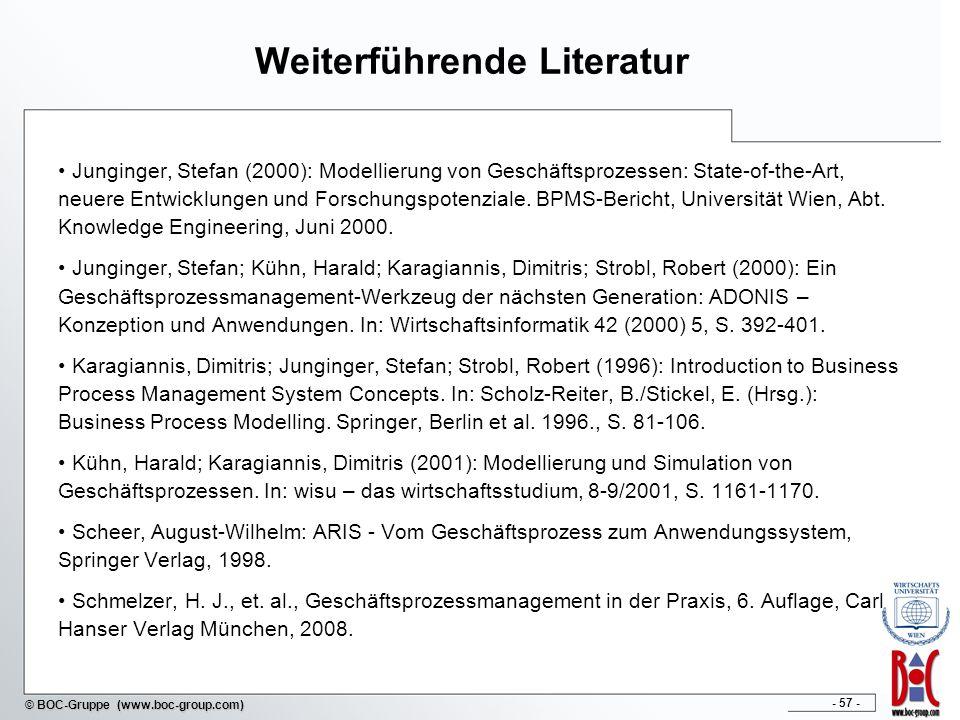 - 57 - © BOC-Gruppe (www.boc-group.com) Weiterführende Literatur Junginger, Stefan (2000): Modellierung von Geschäftsprozessen: State-of-the-Art, neue