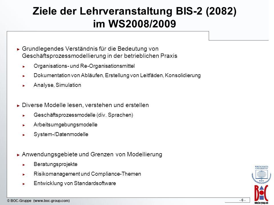 - 7 - © BOC-Gruppe (www.boc-group.com) Agenda im WS 2008 / 2009 Do,16.10.200817:45 – 20:15Einführung, ARIS-HOBE, BPMS-Paradigma Do,23.10.200817:45 – 20:15Vorstellung ADONIS, BPMS Anwendung Do,30.10.200817:45 – 20:15Geschäftsprozessmodellierung mit EPK / Datenmodellierung Do,06.11.200817:45 – 20:15Organisationsmodellierung Do,13.11.200817:45 – 20:15Geschäftsprozessmodellierung mit BPMN Do,20.11.200817:45 – 20:15Simulation von Geschäftsprozessen, Ausgabe Projektarbeit Do,27.11.2008entfällt Do,04.12.200817:45 – 20:15Präsentationen der Projektarbeit Do,11.12.200817:45 – 20:15Compliance / Risk Management Do,18.12.200817:45 – 20:15Abschlusstest
