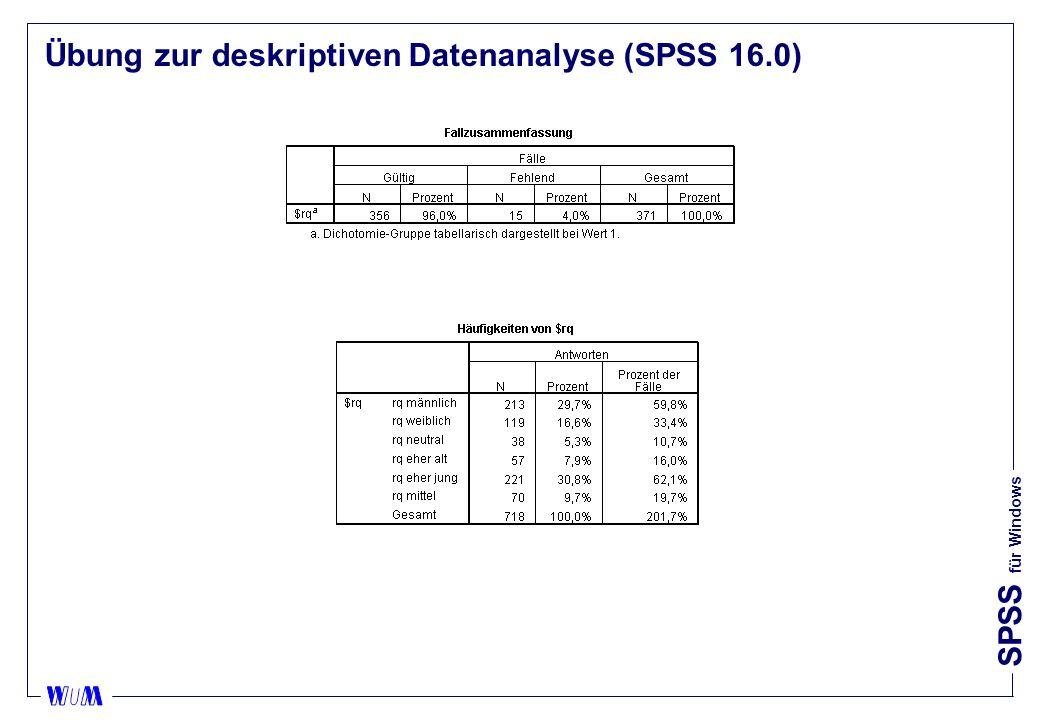 SPSS für Windows Übung zur deskriptiven Datenanalyse (SPSS 16.0)