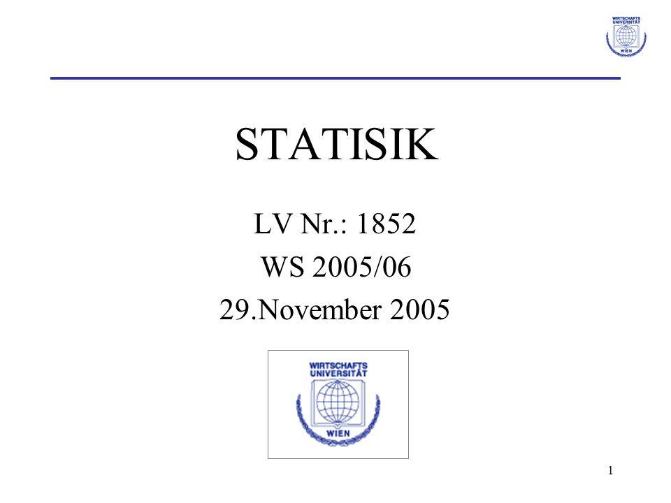 2 Folien & Lernplattform Folien: http://eeyore.wu-wien.ac.at/stat4/gumprecht.html http://www.wu-wien.ac.at/statmath/ Mitarbeiter/Lektoren/Gumprecht Lernplattform: https://learn.wu-wien.ac.at/ Common body of Knowledge: Statistik –Kontrollfragen –Musterklausuren –…