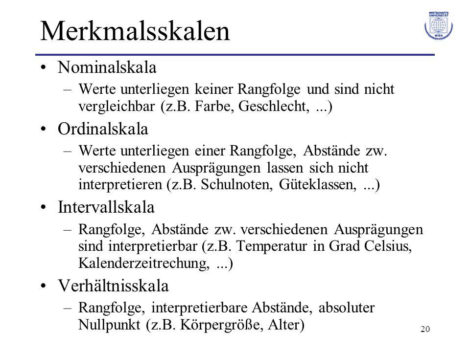 20 Merkmalsskalen Nominalskala –Werte unterliegen keiner Rangfolge und sind nicht vergleichbar (z.B. Farbe, Geschlecht,...) Ordinalskala –Werte unterl