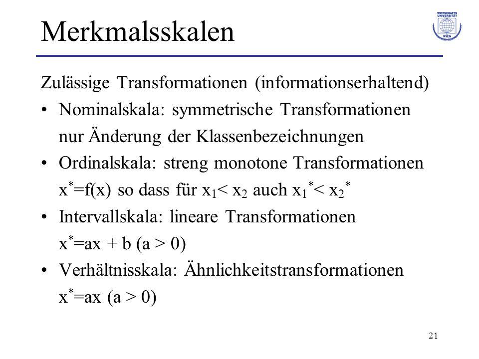 21 Merkmalsskalen Zulässige Transformationen (informationserhaltend) Nominalskala: symmetrische Transformationen nur Änderung der Klassenbezeichnungen