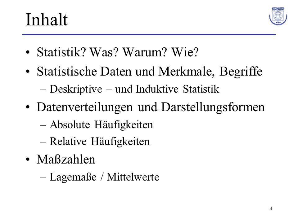 4 Inhalt Statistik? Was? Warum? Wie? Statistische Daten und Merkmale, Begriffe –Deskriptive – und Induktive Statistik Datenverteilungen und Darstellun