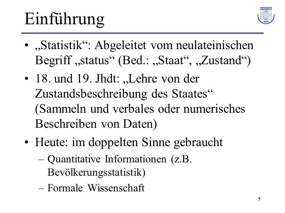 5 Einführung Statistik: Abgeleitet vom neulateinischen Begriff status (Bed.: Staat, Zustand) 18. und 19. Jhdt: Lehre von der Zustandsbeschreibung des