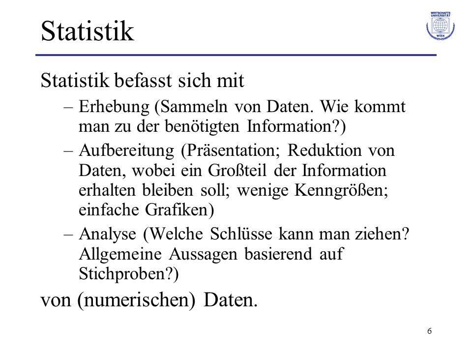 6 Statistik Statistik befasst sich mit –Erhebung (Sammeln von Daten. Wie kommt man zu der benötigten Information?) –Aufbereitung (Präsentation; Redukt