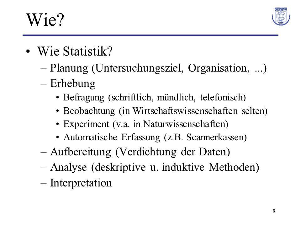8 Wie? Wie Statistik? –Planung (Untersuchungsziel, Organisation,...) –Erhebung Befragung (schriftlich, mündlich, telefonisch) Beobachtung (in Wirtscha