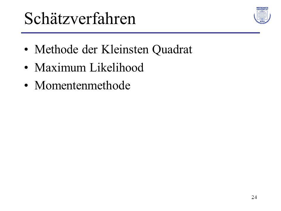 24 Schätzverfahren Methode der Kleinsten Quadrat Maximum Likelihood Momentenmethode