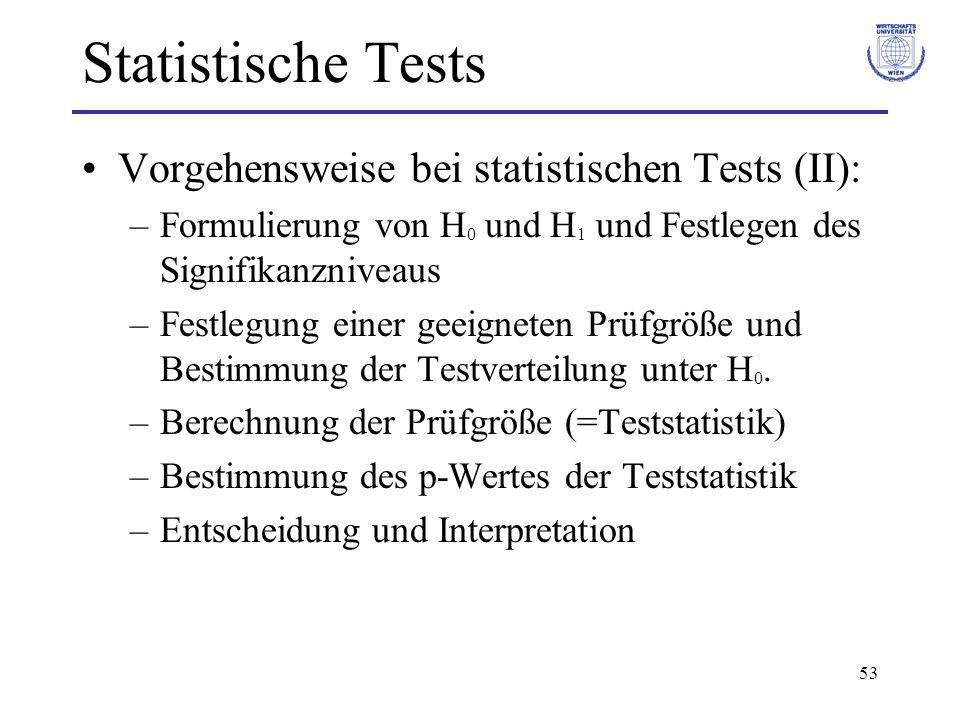 53 Statistische Tests Vorgehensweise bei statistischen Tests (II): –Formulierung von H 0 und H 1 und Festlegen des Signifikanzniveaus –Festlegung eine