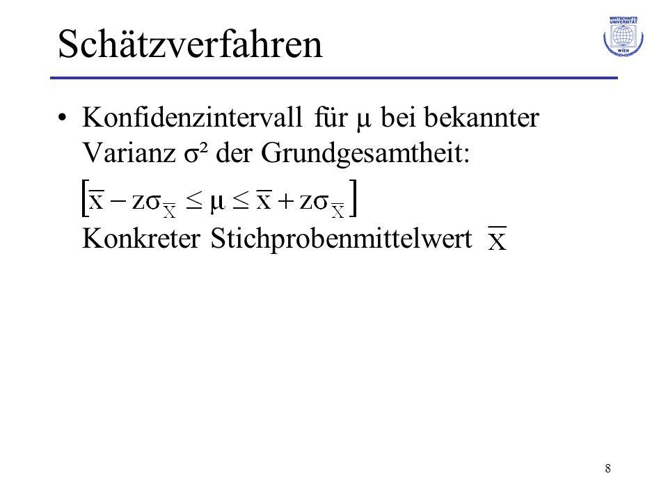 9 Schätzverfahren Konfidenzintervall für µ bei unbekannter Varianz σ² der Grundgesamtheit: Statt der unbekannte Varianz σ² wird die Stichprobenvarianz S² verwendet.