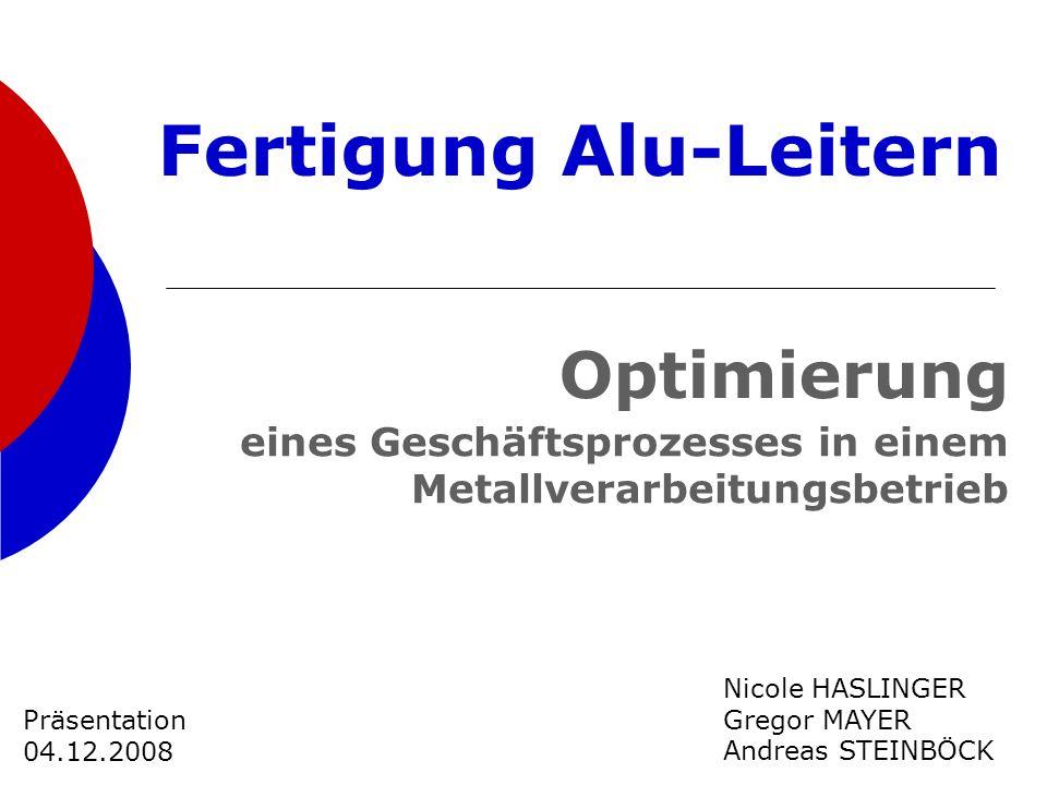 eines Geschäftsprozesses in einem Metallverarbeitungsbetrieb Nicole HASLINGER Gregor MAYER Andreas STEINBÖCK Präsentation 04.12.2008 Optimierung Ferti