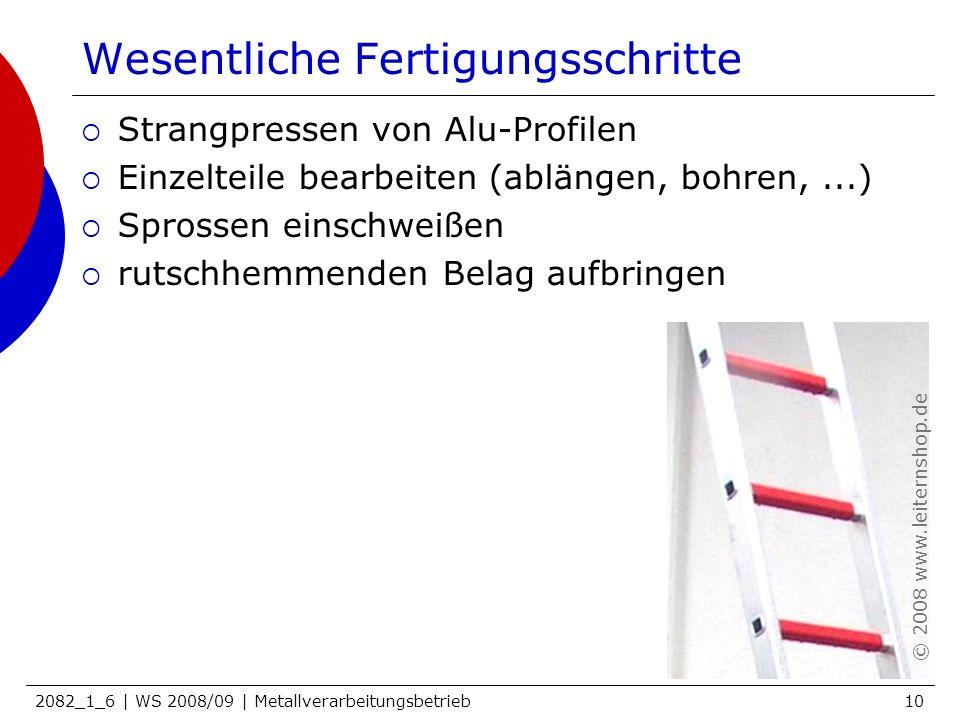 2082_1_6 | WS 2008/09 | Metallverarbeitungsbetrieb10 Wesentliche Fertigungsschritte Strangpressen von Alu-Profilen Einzelteile bearbeiten (ablängen, b