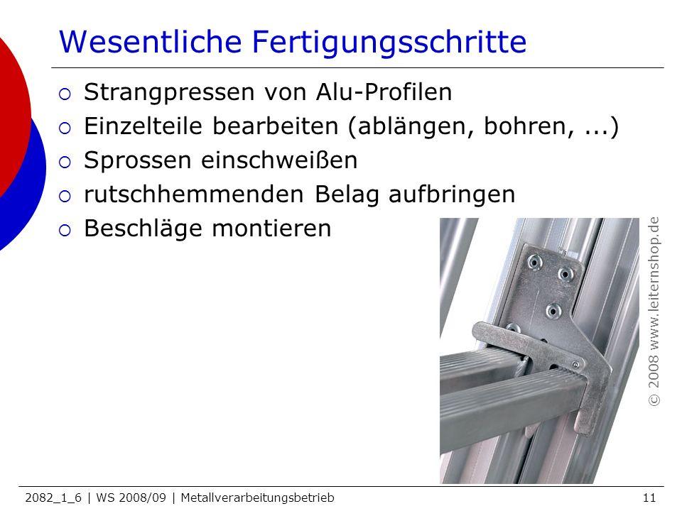 2082_1_6 | WS 2008/09 | Metallverarbeitungsbetrieb11 Wesentliche Fertigungsschritte Strangpressen von Alu-Profilen Einzelteile bearbeiten (ablängen, b