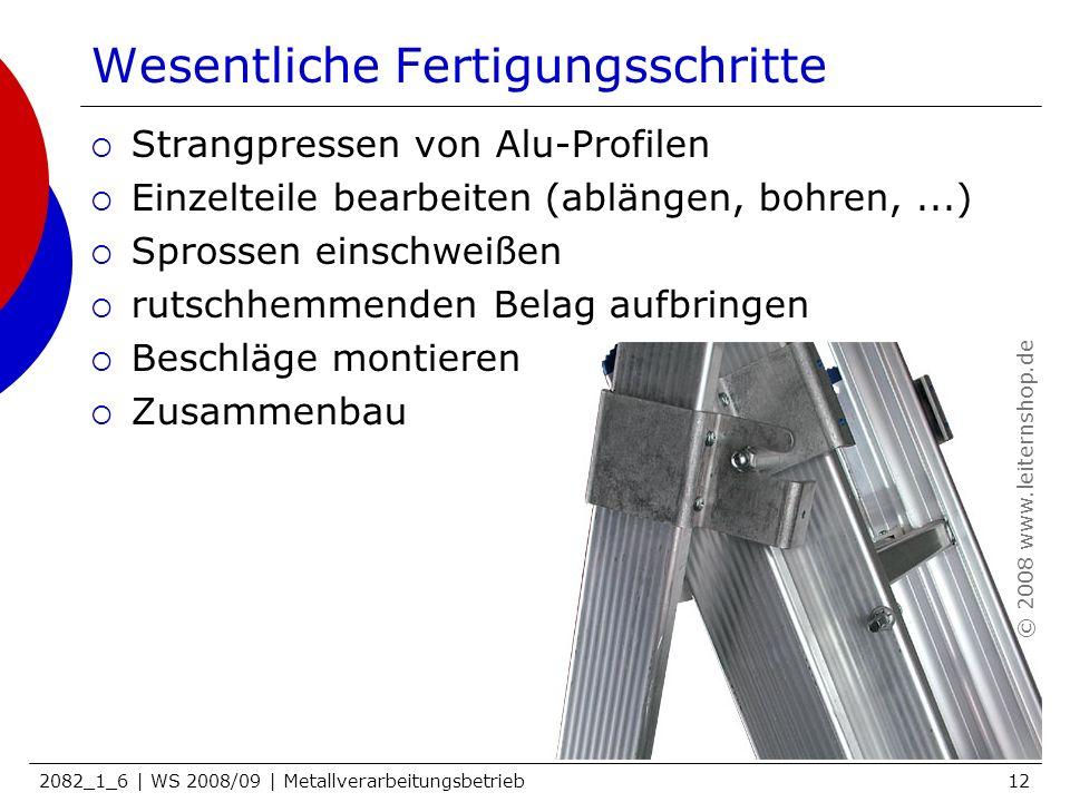 2082_1_6 | WS 2008/09 | Metallverarbeitungsbetrieb12 Wesentliche Fertigungsschritte Strangpressen von Alu-Profilen Einzelteile bearbeiten (ablängen, b