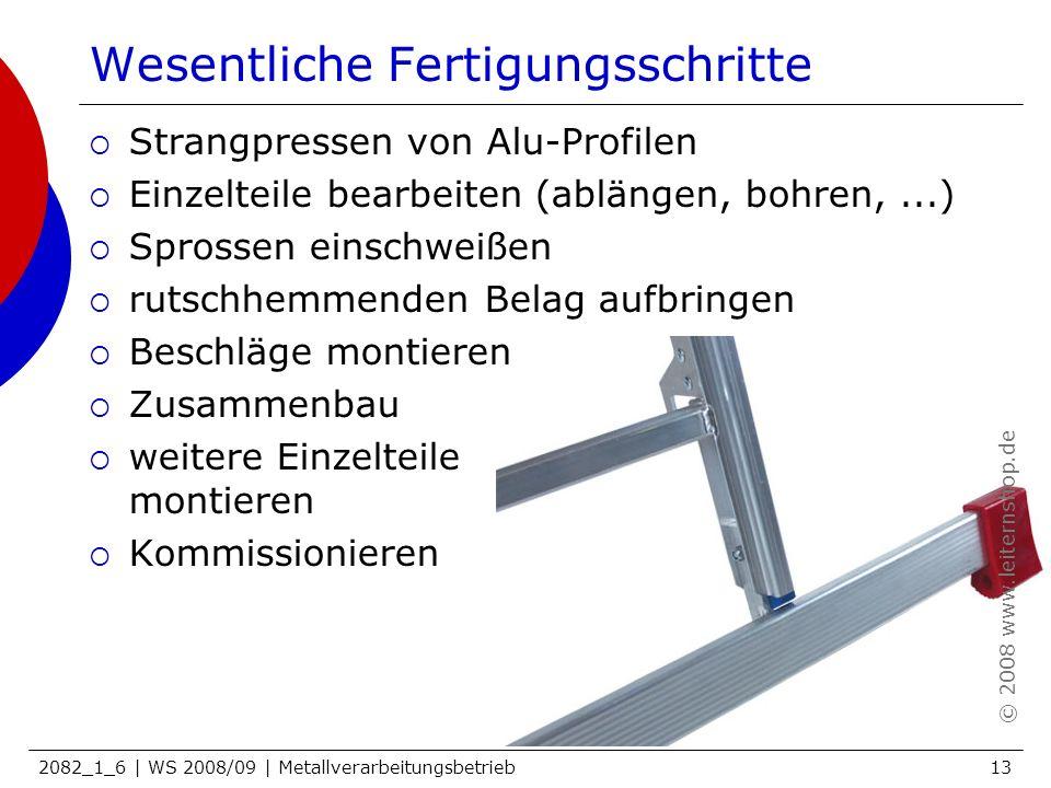 2082_1_6 | WS 2008/09 | Metallverarbeitungsbetrieb13 Wesentliche Fertigungsschritte Strangpressen von Alu-Profilen Einzelteile bearbeiten (ablängen, b