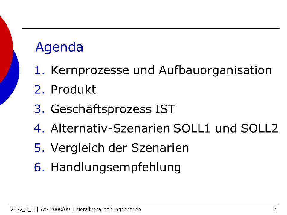 2082_1_6 | WS 2008/09 | Metallverarbeitungsbetrieb2 Agenda 1.Kernprozesse und Aufbauorganisation 2.Produkt 3.Geschäftsprozess IST 4.Alternativ-Szenari