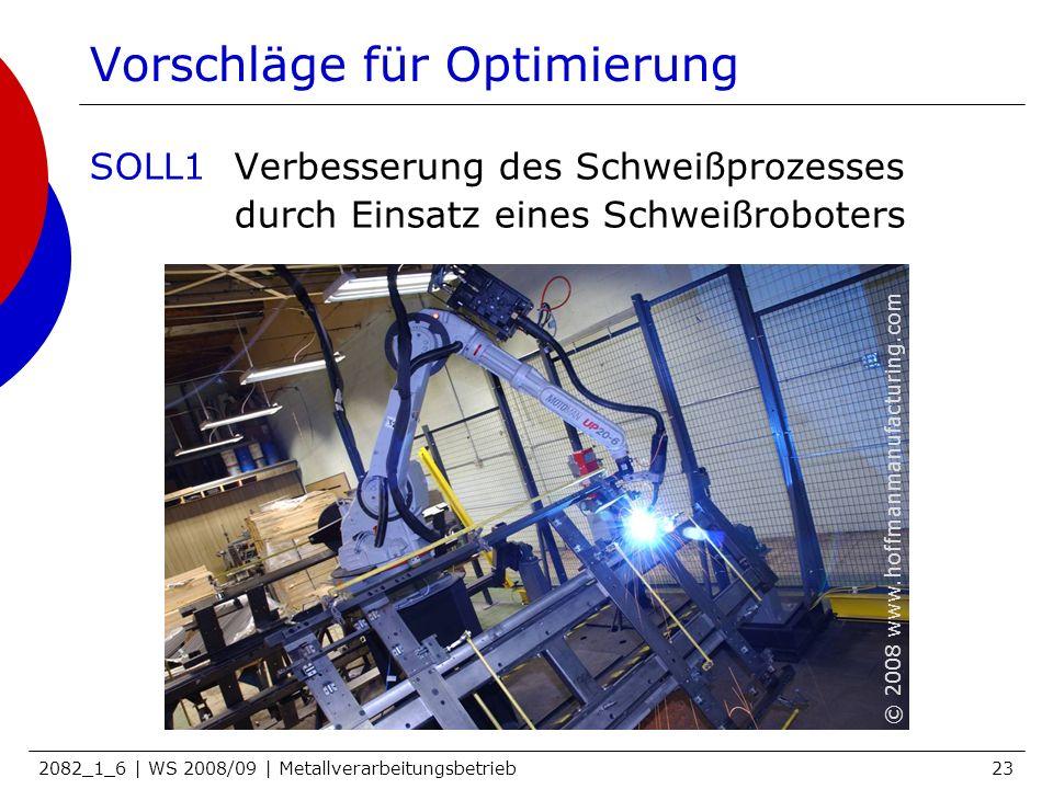 2082_1_6 | WS 2008/09 | Metallverarbeitungsbetrieb23 Vorschläge für Optimierung SOLL1Verbesserung des Schweißprozesses durch Einsatz eines Schweißrobo