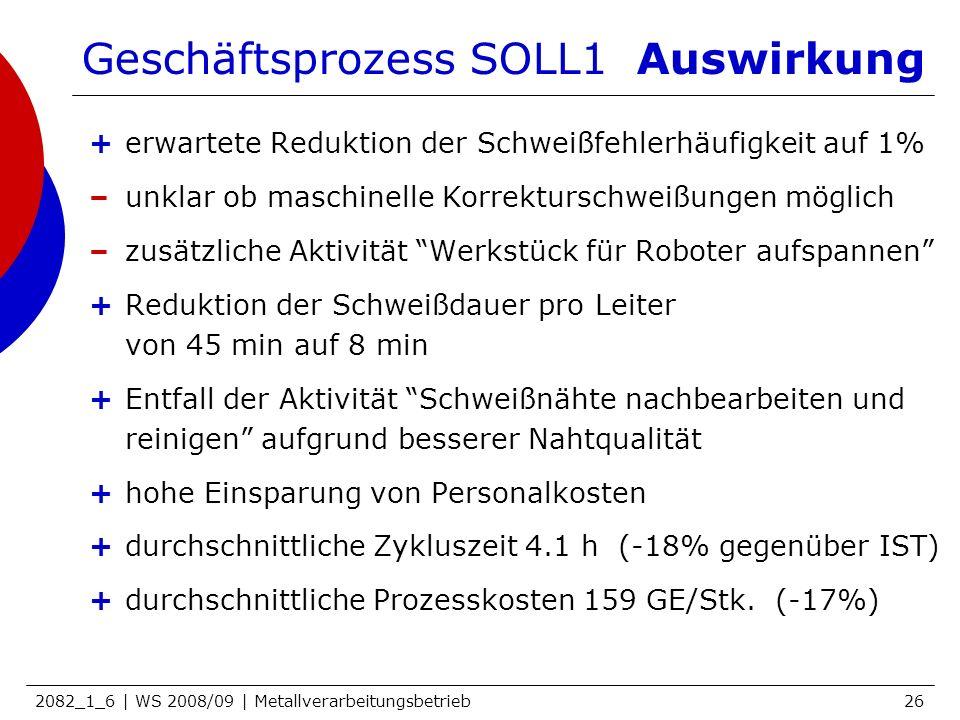 2082_1_6 | WS 2008/09 | Metallverarbeitungsbetrieb26 Geschäftsprozess SOLL1 Auswirkung +erwartete Reduktion der Schweißfehlerhäufigkeit auf 1% –unklar