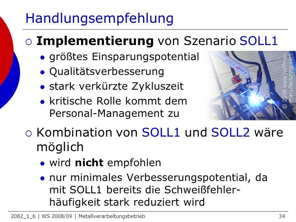 2082_1_6 | WS 2008/09 | Metallverarbeitungsbetrieb34 Handlungsempfehlung Implementierung von Szenario SOLL1 größtes Einsparungspotential Qualitätsverb
