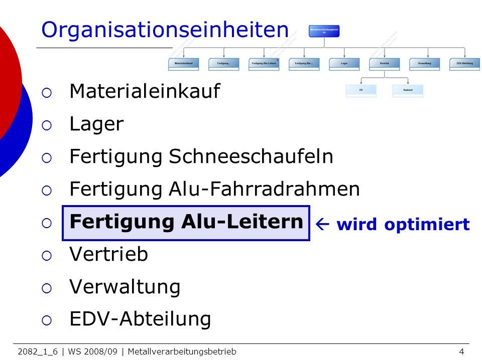 2082_1_6 | WS 2008/09 | Metallverarbeitungsbetrieb5 OE Fertigung Alu-Leitern IST 1 Abteilungsleiter 11MitarbeiterInnen 7Rollen