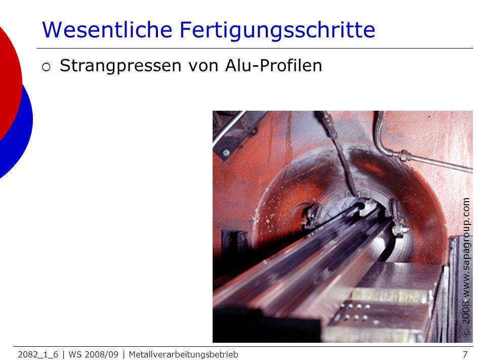 2082_1_6 | WS 2008/09 | Metallverarbeitungsbetrieb7 Wesentliche Fertigungsschritte Strangpressen von Alu-Profilen © 2008 www.sapagroup.com