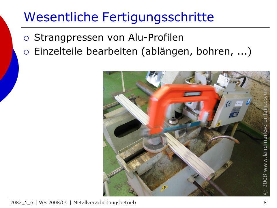 2082_1_6 | WS 2008/09 | Metallverarbeitungsbetrieb8 Wesentliche Fertigungsschritte Strangpressen von Alu-Profilen Einzelteile bearbeiten (ablängen, bo