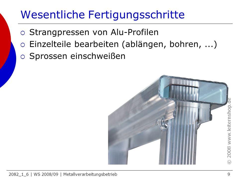 2082_1_6 | WS 2008/09 | Metallverarbeitungsbetrieb10 Wesentliche Fertigungsschritte Strangpressen von Alu-Profilen Einzelteile bearbeiten (ablängen, bohren,...) Sprossen einschweißen rutschhemmenden Belag aufbringen © 2008 www.leiternshop.de