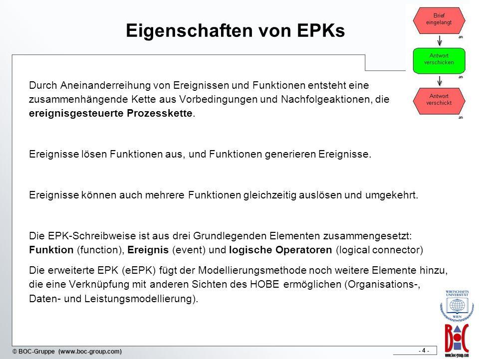 - 4 - © BOC-Gruppe (www.boc-group.com) Eigenschaften von EPKs Durch Aneinanderreihung von Ereignissen und Funktionen entsteht eine zusammenhängende Ke