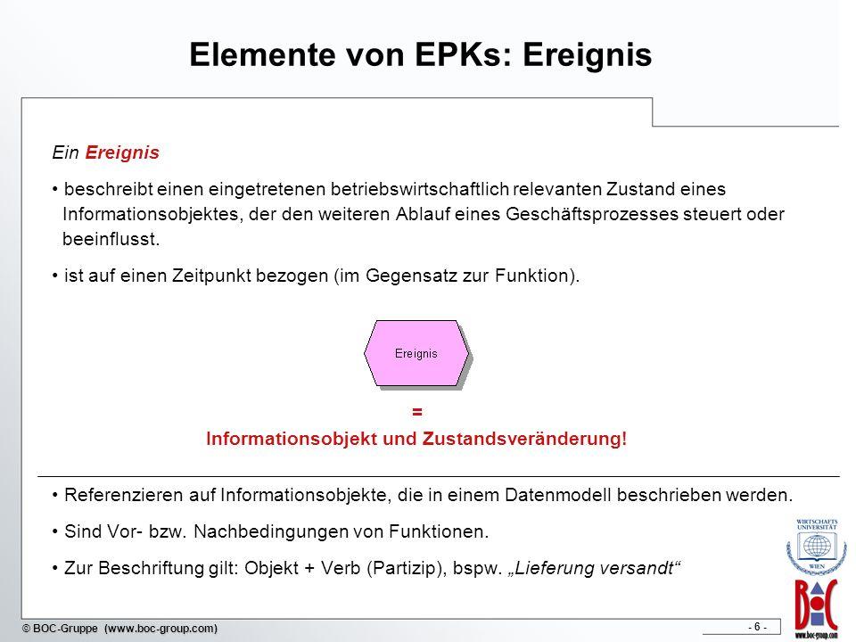 - 7 - © BOC-Gruppe (www.boc-group.com) Elemente von EPKs: logische Operatoren Alle logischen Entscheidungen lassen sich durch genau drei verschiedene logische Operatoren darstellen.