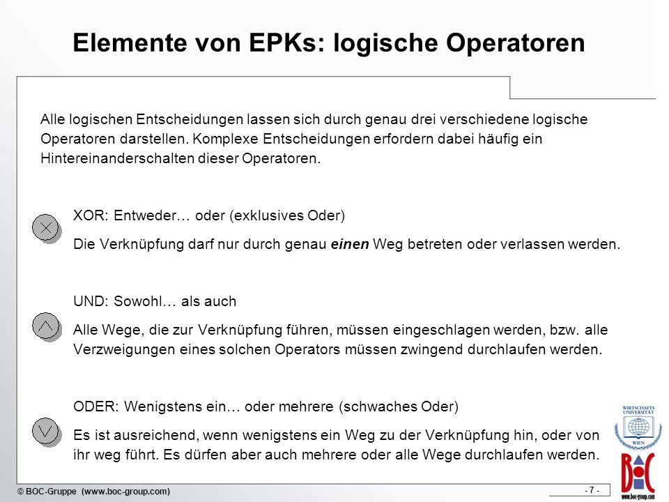 - 7 - © BOC-Gruppe (www.boc-group.com) Elemente von EPKs: logische Operatoren Alle logischen Entscheidungen lassen sich durch genau drei verschiedene