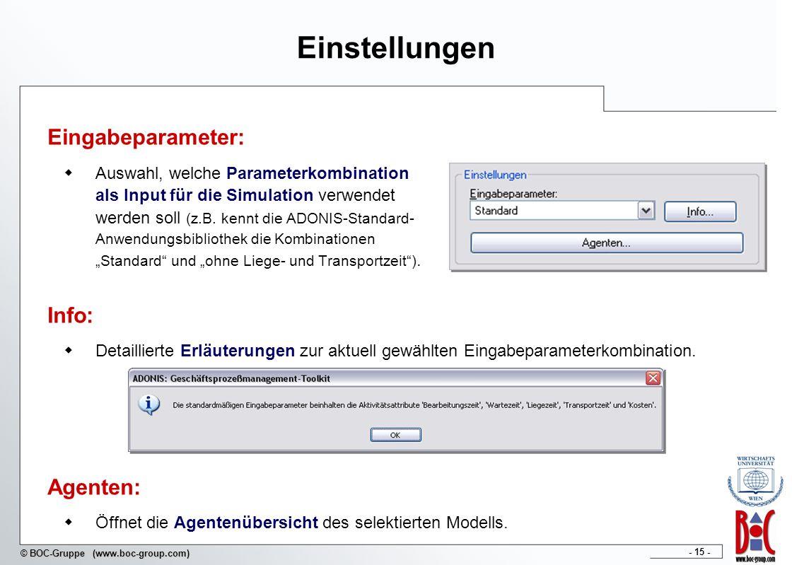 - 15 - © BOC-Gruppe (www.boc-group.com) Einstellungen Eingabeparameter: Auswahl, welche Parameterkombination als Input für die Simulation verwendet we