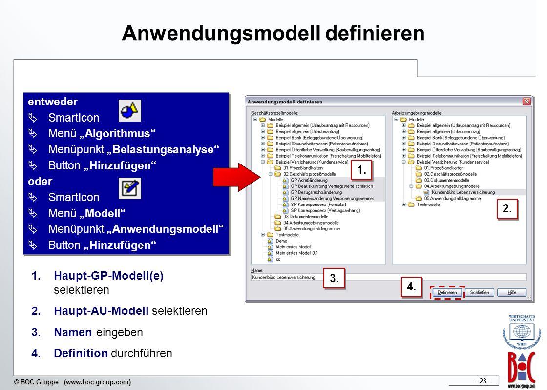 - 23 - © BOC-Gruppe (www.boc-group.com) Anwendungsmodell definieren 1. 4. 3. 1.Haupt-GP-Modell(e) selektieren 2.Haupt-AU-Modell selektieren 3.Namen ei