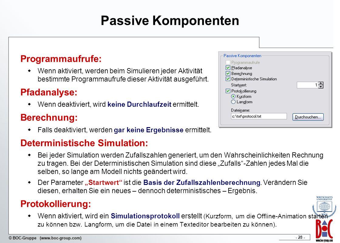 - 28 - © BOC-Gruppe (www.boc-group.com) Passive Komponenten Programmaufrufe: Wenn aktiviert, werden beim Simulieren jeder Aktivität bestimmte Programm