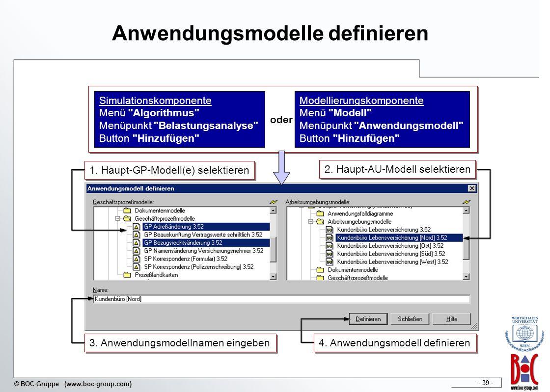 - 39 - © BOC-Gruppe (www.boc-group.com) Anwendungsmodelle definieren 2. Maßzahlen definieren 1. Haupt-GP-Modell(e) selektieren 2. Haupt-AU-Modell sele