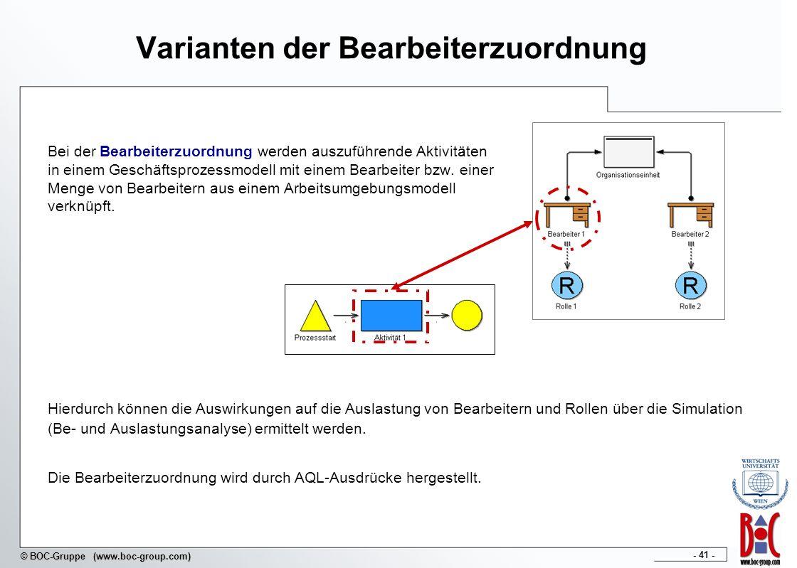 - 41 - © BOC-Gruppe (www.boc-group.com) Varianten der Bearbeiterzuordnung Bei der Bearbeiterzuordnung werden auszuführende Aktivitäten in einem Geschä