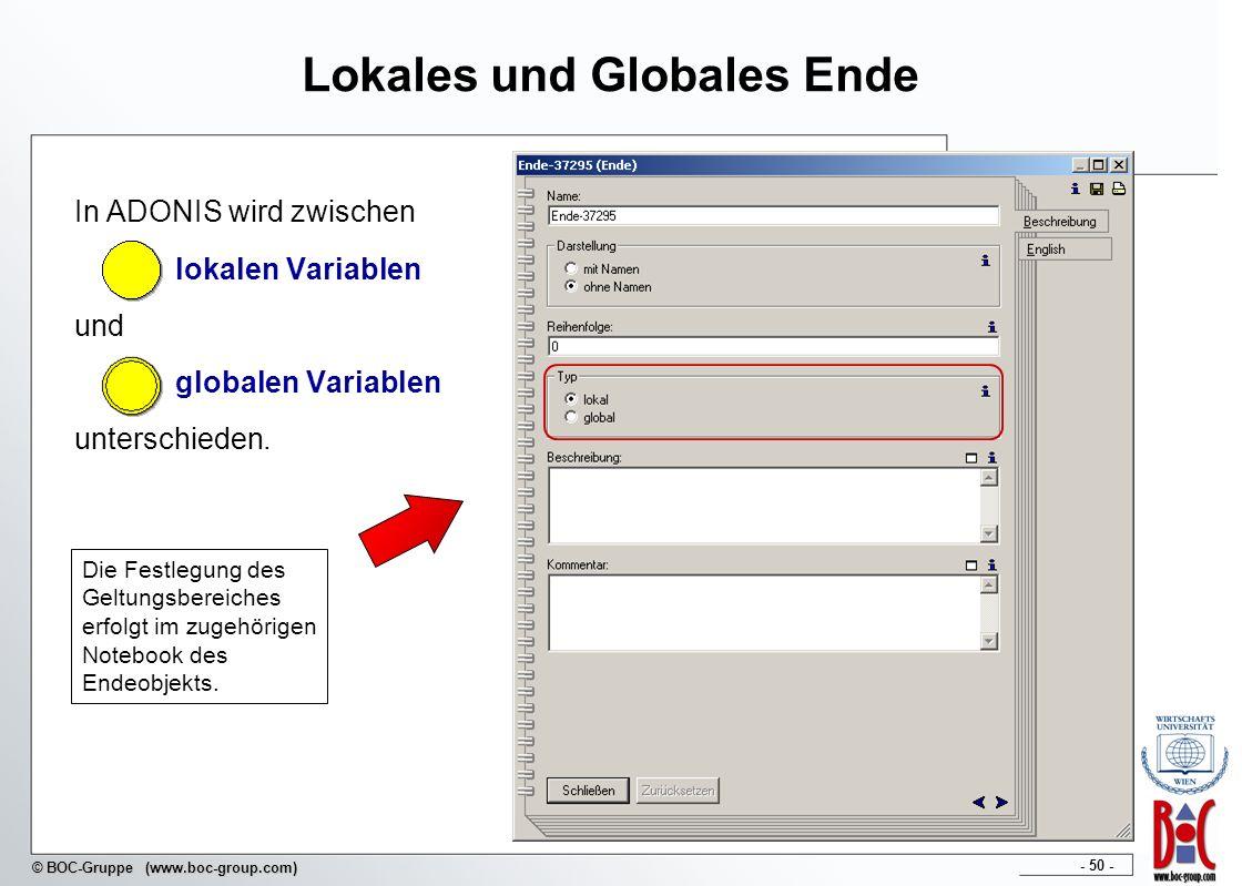- 50 - © BOC-Gruppe (www.boc-group.com) Lokales und Globales Ende In ADONIS wird zwischen lokalen Variablen und globalen Variablen unterschieden. Die